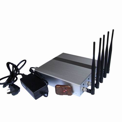Wholesale 5 Band Cellphone GPS signal Jammer with Remote Control